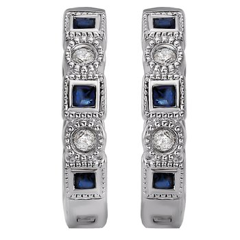 Diamond and Sapphire Huggie Earrings
