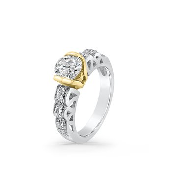 Platinum 18K Yellow Gold Diamond Modern Vintage Engagement Ring