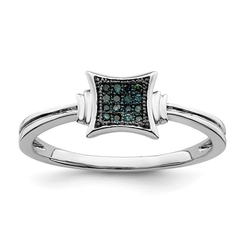 Quality Gold Sterling Silver Rhod Plated White/Blue Diamonds Square Ring