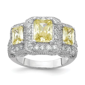 Cheryl M Sterling Silver Rhodium Plated Canary & White CZ 3-stone Ring