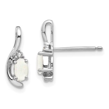 14k White Gold Opal and Diamond Post Earrings