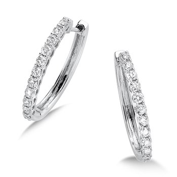 Pave set Diamond Oval Hoops in 14k White Gold (3/4ct. tw.) GH/SI1-SI2
