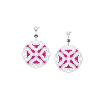 316L stainless steel, fuchsia enamel and silver night Swarovski® Elements
