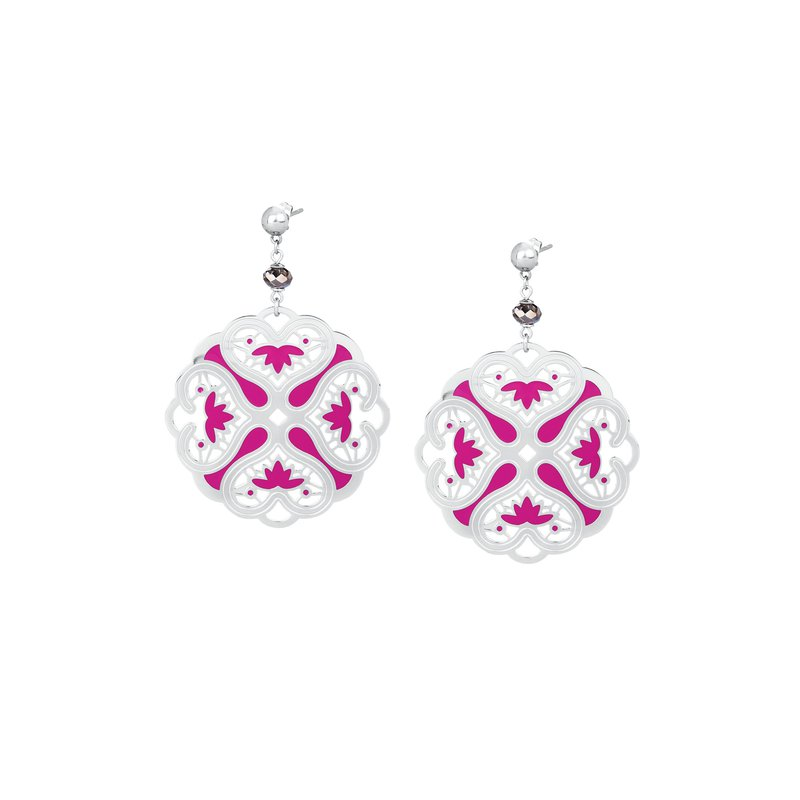 Brosway 316L stainless steel, fuchsia enamel and silver night Swarovski® Elements