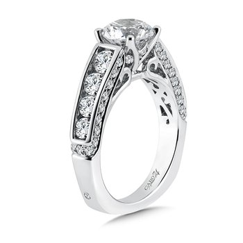 Engagement Ring With Channel-Set Side Stones in 14K White Gold with Platinum Head (1-1/2ct. tw.)