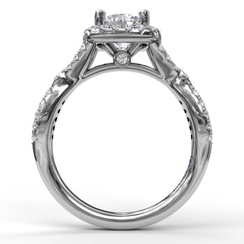 Cushion Halo Twist Shank Engagement Ring