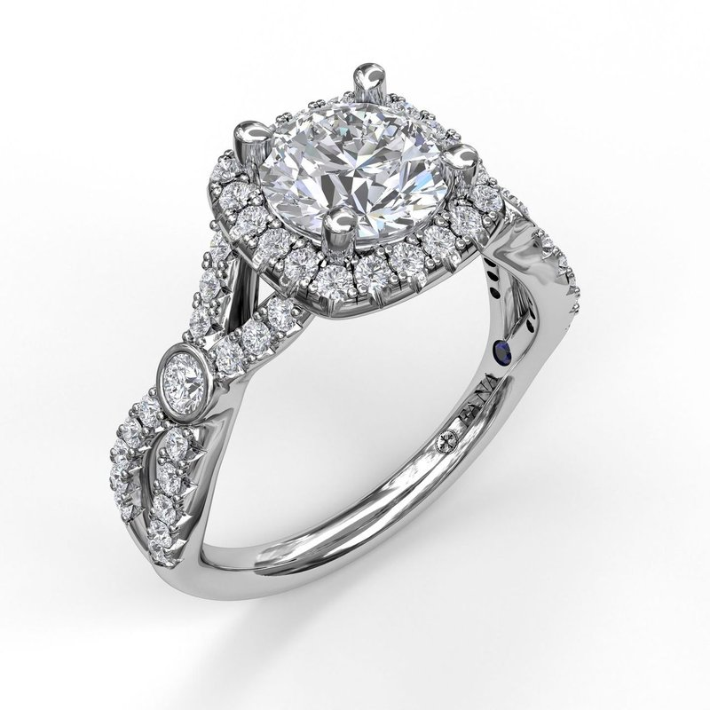 Fana Cushion Halo Twist Shank Engagement Ring