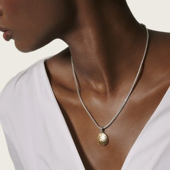 Dot Hammered Reversible Pendant Necklace, Silver, 18K Gold