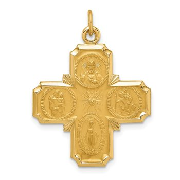 14k Solid Polished/Satin Medium 4-Way Medal