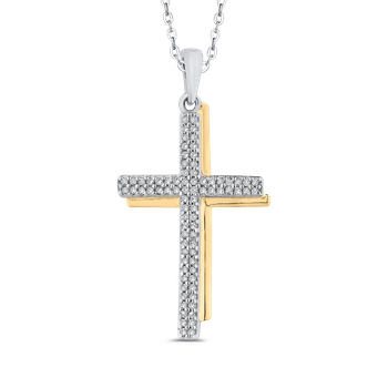 10K White & Yellow Gold 1/4 Ct Diamond Cross Pendant with Chain