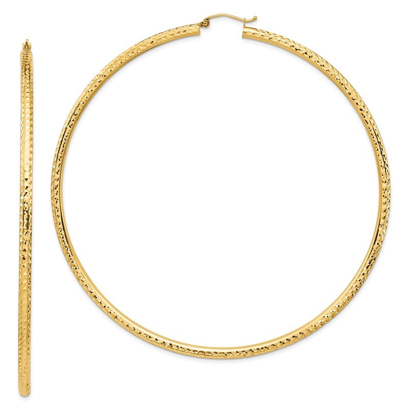 Quality Gold 14k Lightweight 3mm Diamond-cut Hoop Earrings