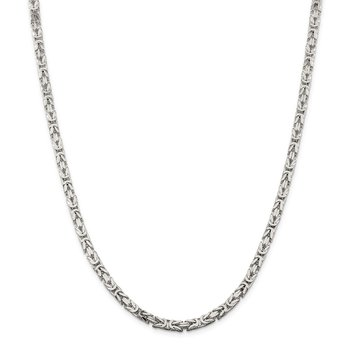 Sterling Silver 4.25mm Byzantine Chain