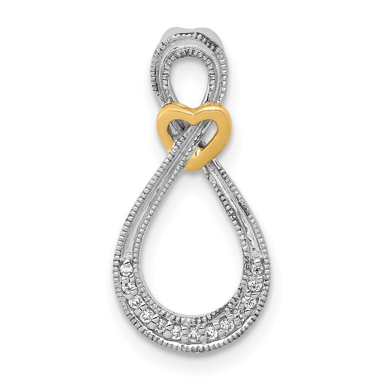 Quality Gold 14k Two-tone 1/20ct. Diamond Infinity w/Heart Chain Slide