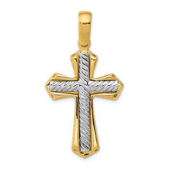 14k Two-tone Solid Cross Pendant