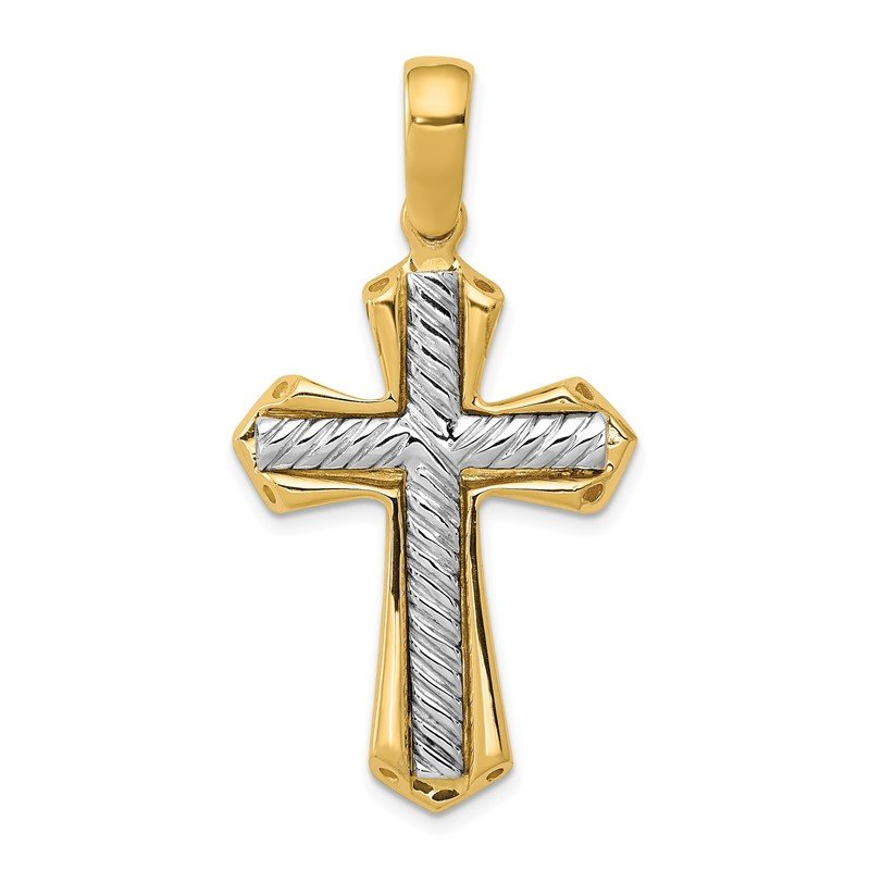 Quality Gold 14k Two-tone Solid Cross Pendant