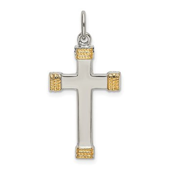Sterling Silver & Gold-plated Polished Cross Pendant