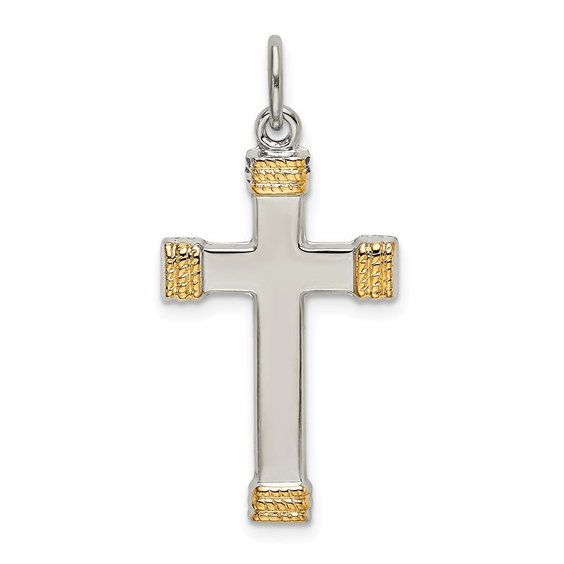 Quality Gold Sterling Silver & Gold-plated Polished Cross Pendant
