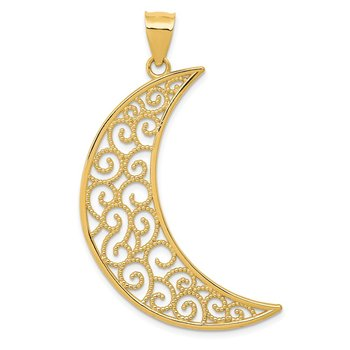 14k Filigree Moon Pendant