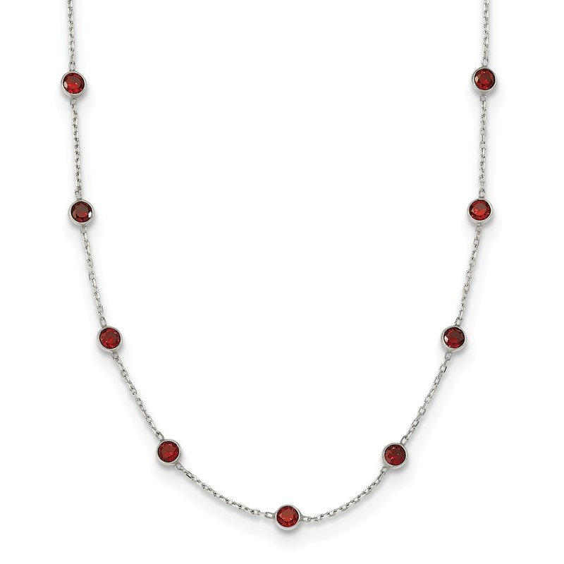 Quality Gold Sterling Silver 9-Station Red CZ Necklace