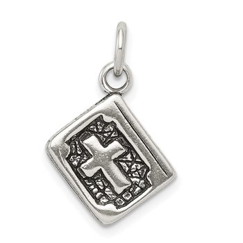 Sterling Silver Antiqued Reversible 3-D Bible Charm