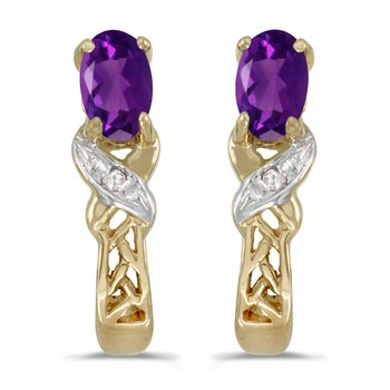 14k Yellow Gold Oval Amethyst And Diamond Earrings
