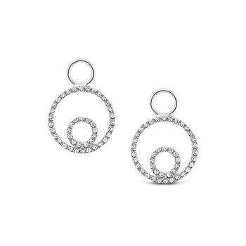 Diamond Double Circle Earring Charms in 14k White Gold with 86 Diamonds weighing .18ct tw