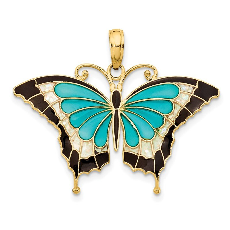 Quality Gold 14K Aqua Enameled Butterfly Pendant