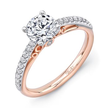 "Uneek ""Naiade"" Round Diamond Solitaire Engagement Ring with Pave Upper Shank in 14K White Gold, and Dramatic Under-the-Head Filigree/Bottom Shank in 14K Rose Gold"