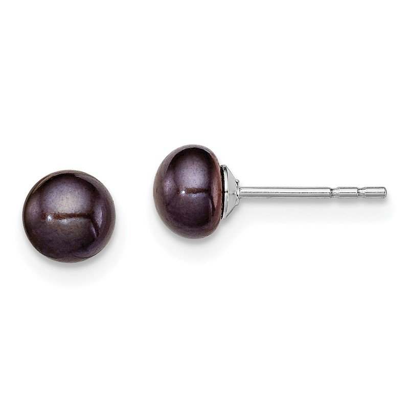 Quality Gold Sterling Silver Rh-plated 5-6mm Black FW Cultured Button Pearl Stud Earring