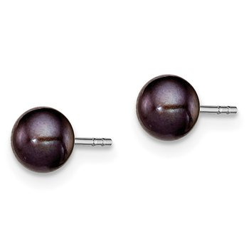 Sterling Silver Rh-plated 5-6mm Black FW Cultured Button Pearl Stud Earring
