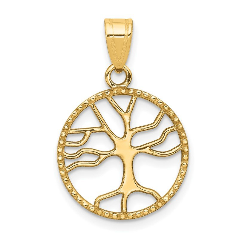 Quality Gold 14K Gold Polished Small Tree of Life in Round Pendant