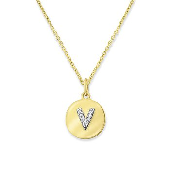 "Diamond Mini Disc Initial ""V"" Necklace in 14k Yellow Gold with 8 Diamonds weighing .03ct tw."