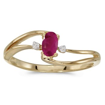 14k Yellow Gold Oval Ruby And Diamond Wave Ring