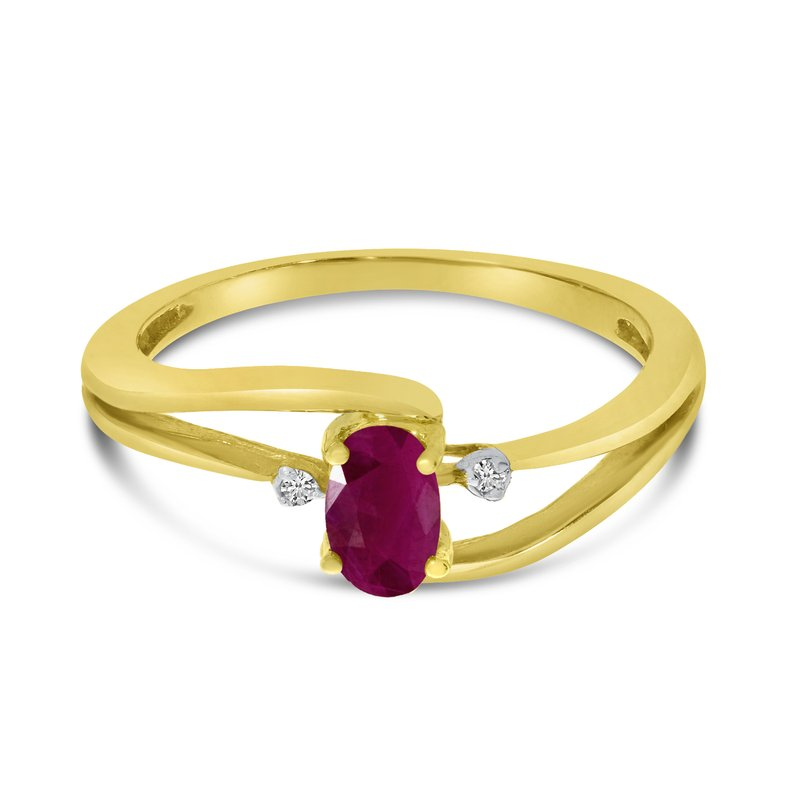 Color Merchants 14k Yellow Gold Oval Ruby And Diamond Wave Ring