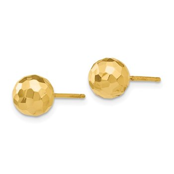 14K Gold Polished and Diamond Cut 7MM Ball Post Earrings