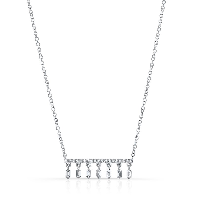 White Gold Dangling Baguette Bar Necklace