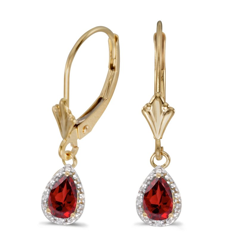 Color Merchants 14k Yellow Gold Pear Garnet And Diamond Leverback Earrings