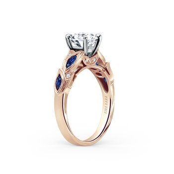 Sapphire Leaf Diamond Milgrain Engagement Ring