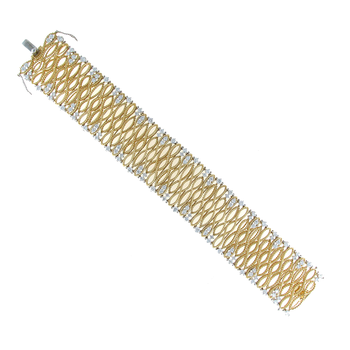 18Kt Gold Large Bracelet With Diamonds
