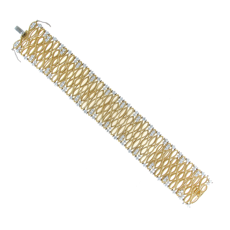 Roberto Coin 18Kt Gold Large Bracelet With Diamonds