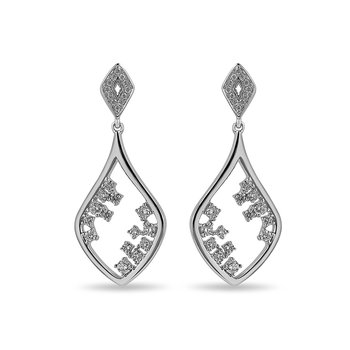 14K WG and diamond Kite dangling earring in prong setting