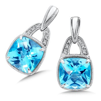 Sterling Silver Swiss Blue Topaz White Diamond Post Earrings
