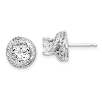 Sterling Silver Rhodium-plated 6mm CZ Swirl Post Earrings