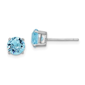 Sterling Silver Rhod-pltd Aqua Blue Swar Crystl Birthstone Earrings