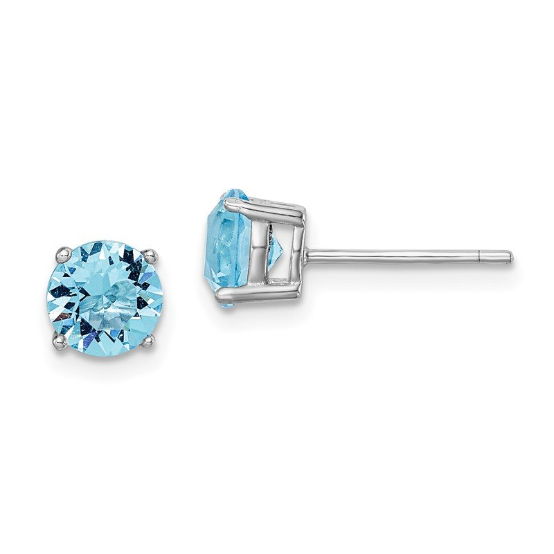 Lester Martin Online Collection Sterling Silver Rhod-pltd Aqua Blue Swar Crystl Birthstone Earrings