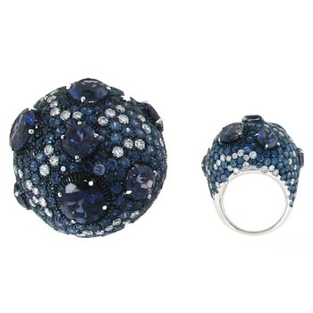 #3448 Of Cocktail Ring With Sapphires, Iolite And Diamonds