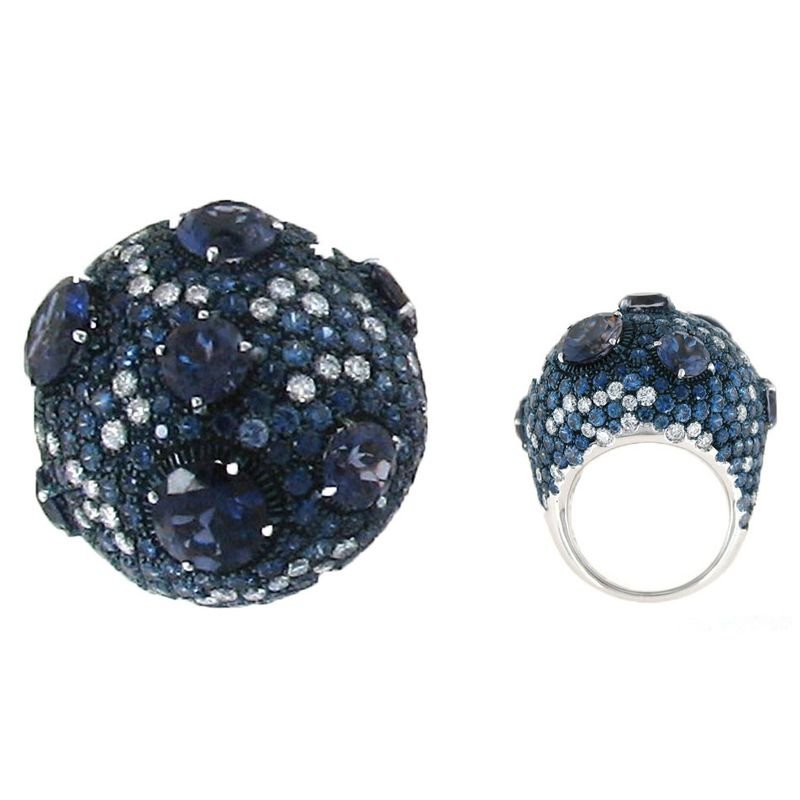 Roberto Coin  #3448 Of Cocktail Ring With Sapphires, Iolite And Diamonds