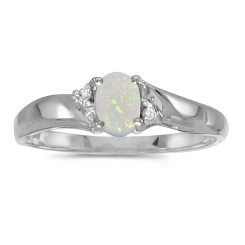 Sterling Silver Oval Opal And Diamond Ring