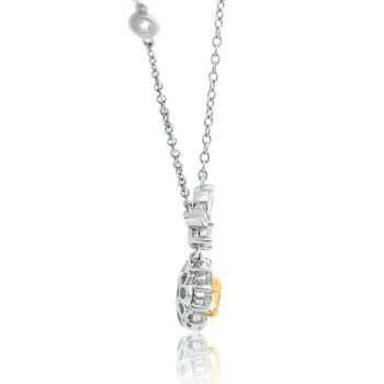 Oval Yellow Diamond Halo Necklace
