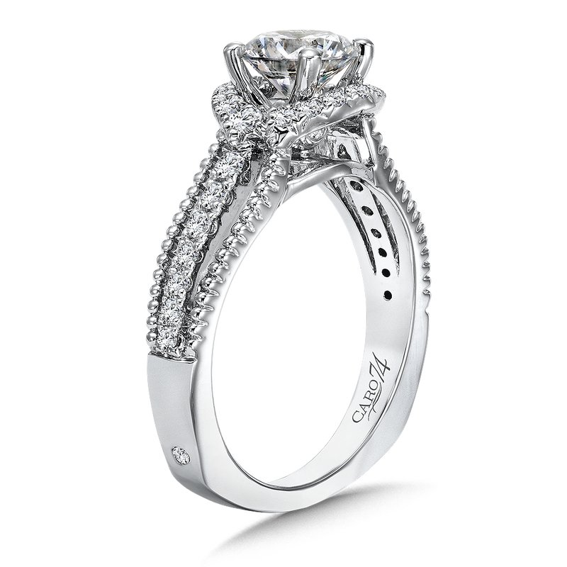 Caro74 Halo Engagement Ring with Split Shank and Side Stones in 14K White Gold with Platinum Head (1ct. tw.)